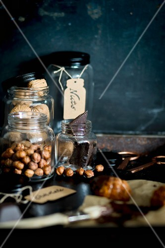 Preserving jars filled with nuts