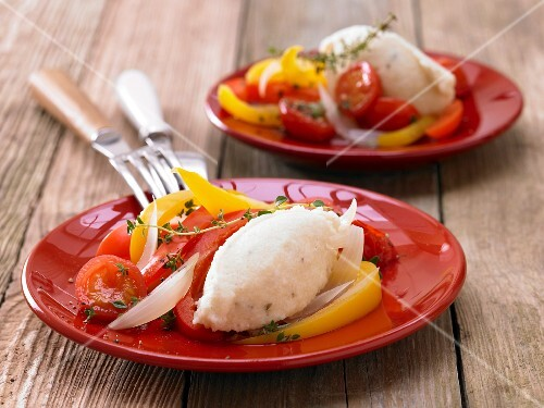 Quark dumplings with peppers
