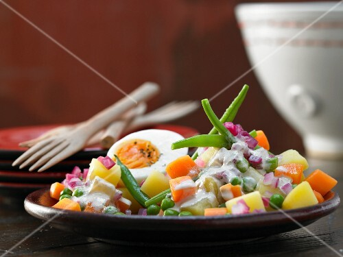 Vegetable salad with tuna sauce and a hard-boiled egg