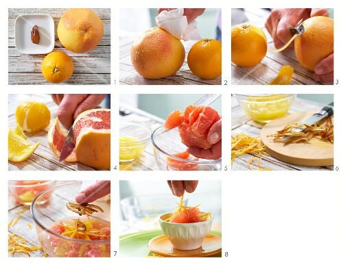 How to make an orange and grapefruit salad with date slices