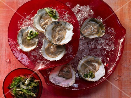 Oysters with parsley salsa verde