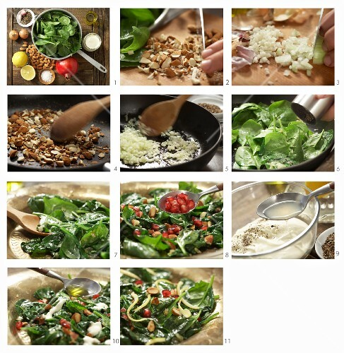 How to prepare a spinach salad with pomegranate kernels and almonds (Morocco)