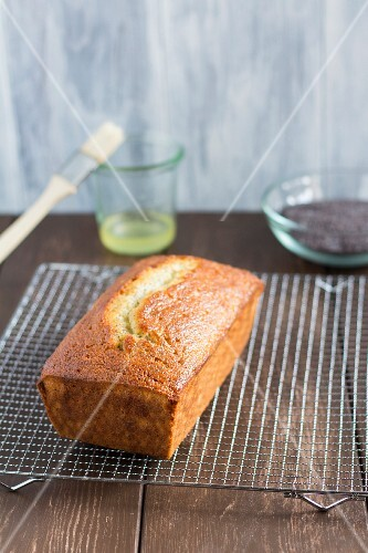 Lemon and poppyseed loaf cake on a wire cooling rack