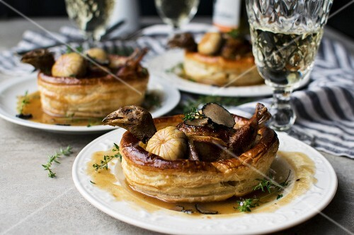 'Caille en sarcophage', quail in puff pastry (France)