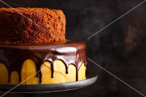 A two-tier chocolate cake