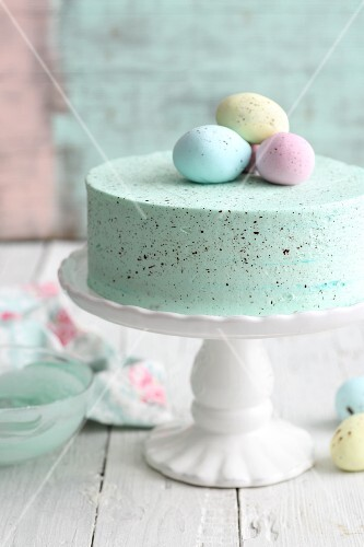 A pastel-coloured buttercream cake for Easter