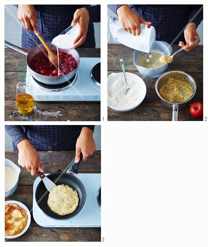 Vegan quinoa pancakes with berry compote being made (soya-free)