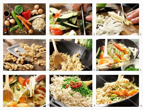How to make vegetarian nasi goreng with carrots, peppers and scrambled eggs