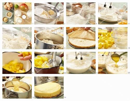 mango mousse torte mit kokos ingwer biskuit zubereiten bild kaufen 12248690 stockfood. Black Bedroom Furniture Sets. Home Design Ideas