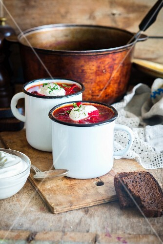 Borscht (Traditional Russian and Ukrainian soup from beetroot)