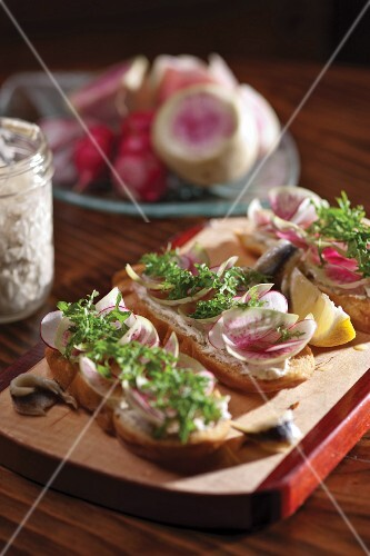 Spring radish toast with white anchovy rillette