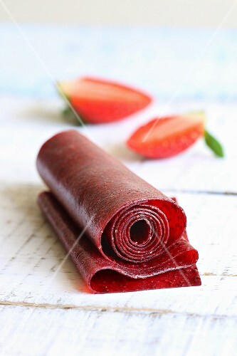 Strawberry leather roll up snack