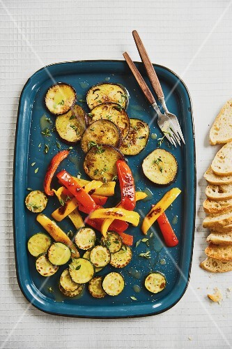 Antipasti with red and yellow pepper, courgette and aubergine