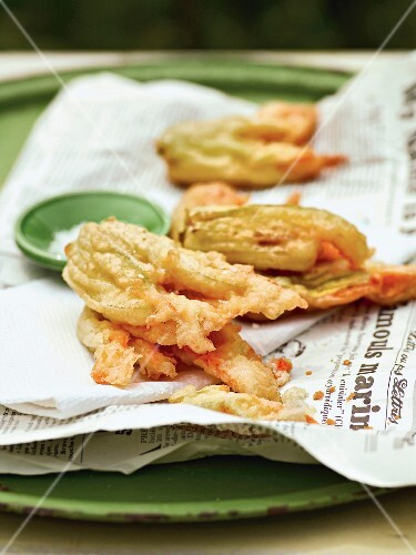 Deep-fried zucchini blossoms in a parmesan coating