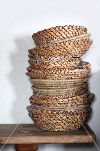 Traditional bread baskets, stacked