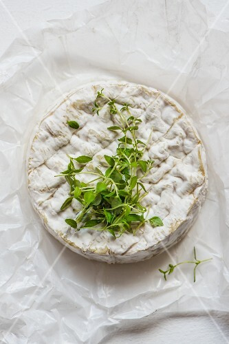 A whole Camembert with fresh thyme