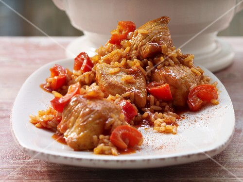 Rice with turkey, pepper and tomato (Serbia)