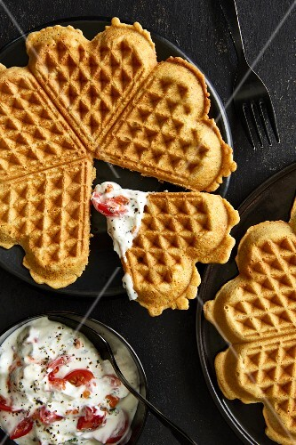 Vegetarian whole-food waffles with tomato quark