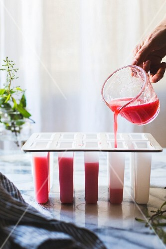 The recipe mixture for raspberry lemon verbena popsicles