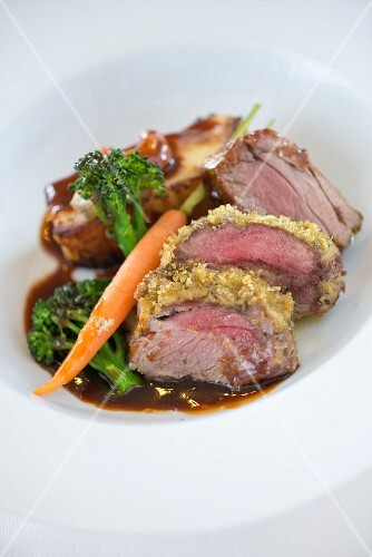 Roast rump of herb crusted Lamb