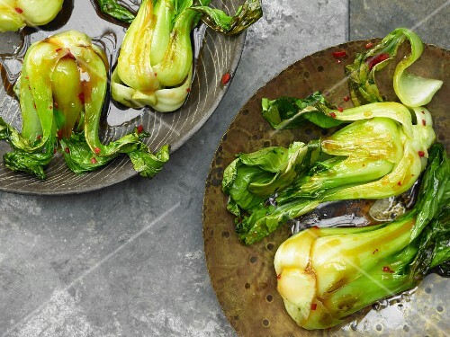 Pan fried pak choi with sweet and spicy sauce