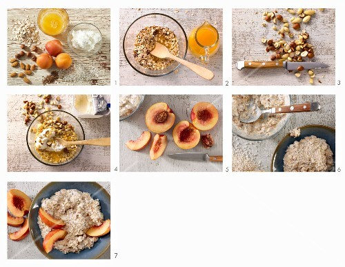 How to make amaranth and oat muesli with nuts and nectarine slices