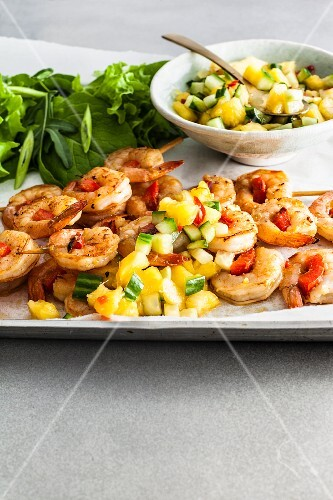 Prawn Kebabs with Pineapple and Chilli Salsa