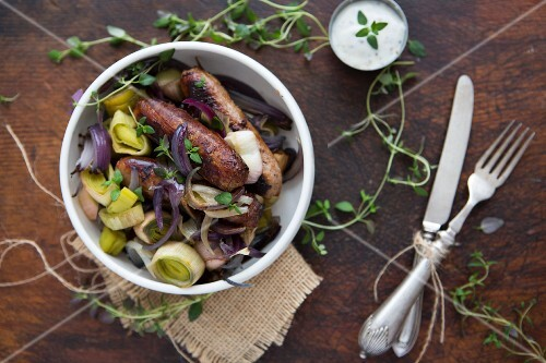 Sausage, Leek, Red Onion and Thyme in a bowl with Sour Cream