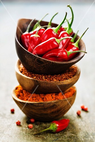 Red Hot Chili Peppers with herbs and spices over wooden background
