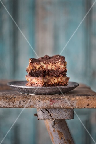 Pieces of walnut cake on a plate