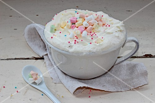 Hot chocolate with cream and marshmallows