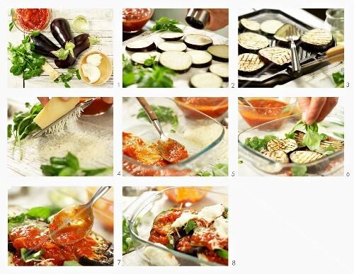 auberginen auflauf mit tomaten parmesan und mozzarella bild kaufen 12295301 stockfood. Black Bedroom Furniture Sets. Home Design Ideas