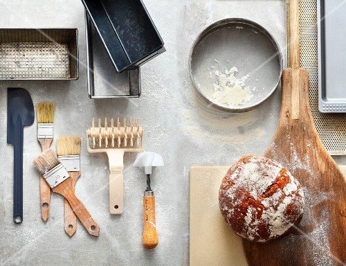 Baking utensils at a bakery