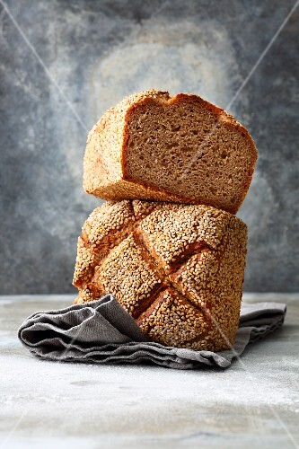 Emmer ancient grain bread with sesame seeds