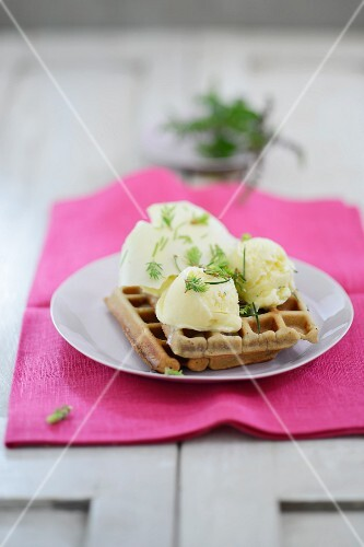 Waffles with herb ice cream