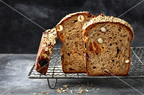 Fruit loaf with dried apricots, cherries and plums