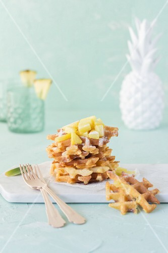 Buttermilk waffles with pineapple chunks