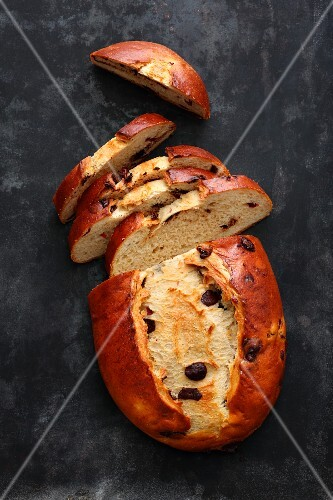 Sweet yeast bread with cranberries and chocolate chips