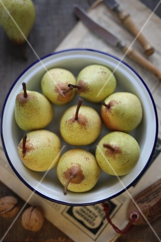 Pears in a metal bowl