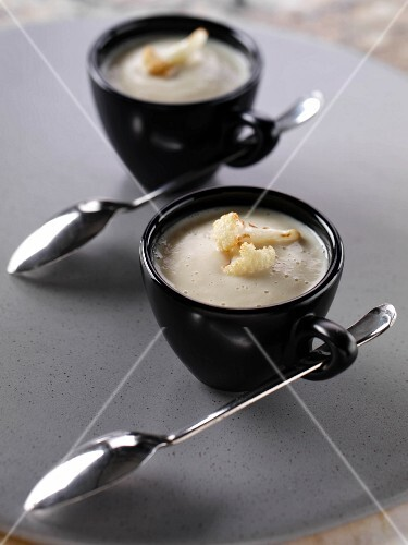Cups of cauliflower soup