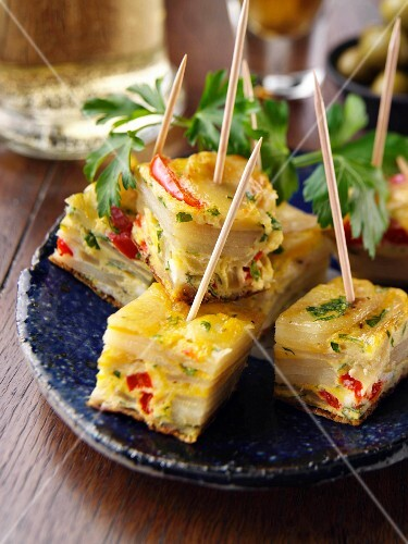 Potato and red pepper tapas