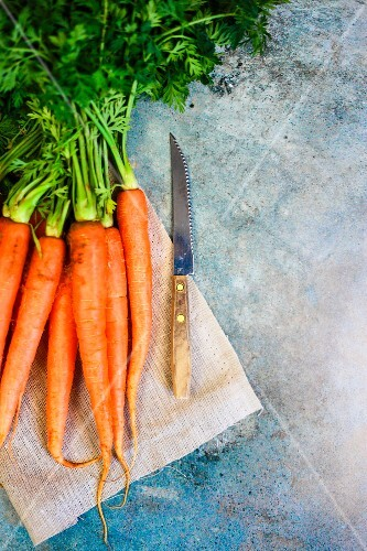 Fresh carrots with a knife