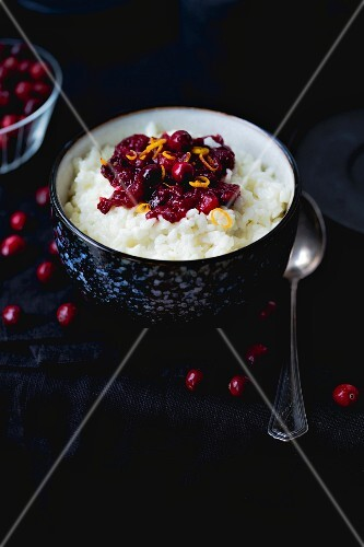 Rice pudding with cranberries and orange zest