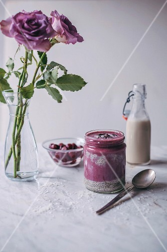 Vanilla chia pudding and cherry smoothie breakfast jar