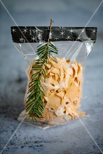 Pasta stars, packed in a bag