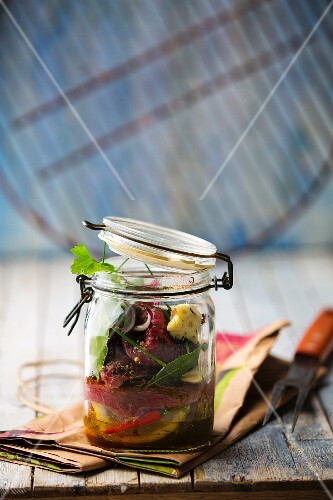 Beef salad in a mason jar
