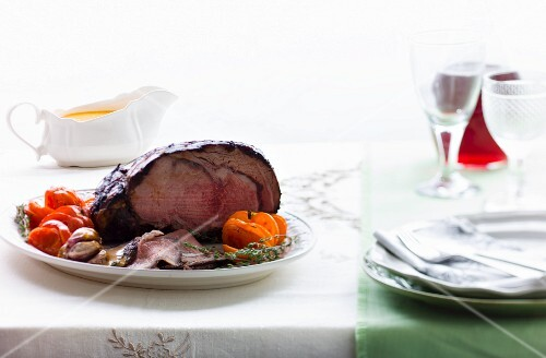 Roast beef on a serving plate
