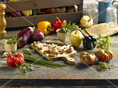 Vegetables and herbs as ingredients to make spreads for bread