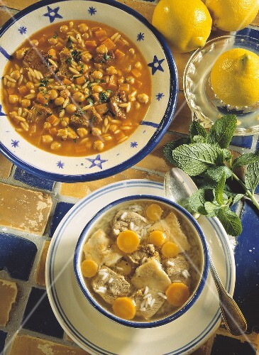Two Assorted Soups; Chick Peas and Orzo and Lamb with Carrots