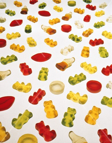 Many gummi bears and other fruit jelly figures